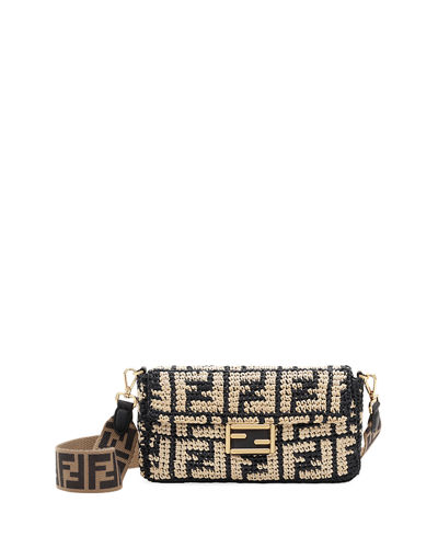 Baguette FF Raffia Shoulder Bag