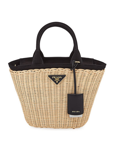 Midollino Small Wicker & Canvas Tote Bag