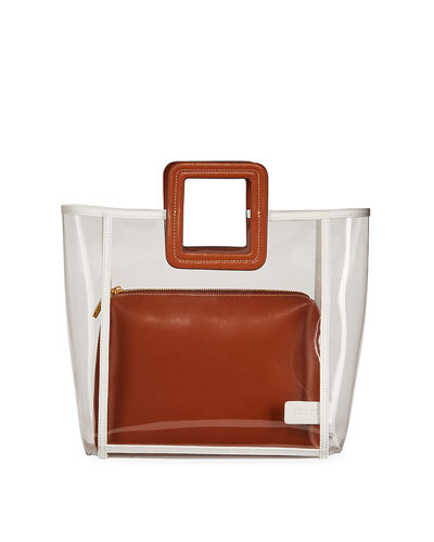 Shirley Framed PVC and Leather Tote Bag