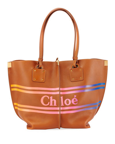 Vick Striped Logo Leather Tote Bag