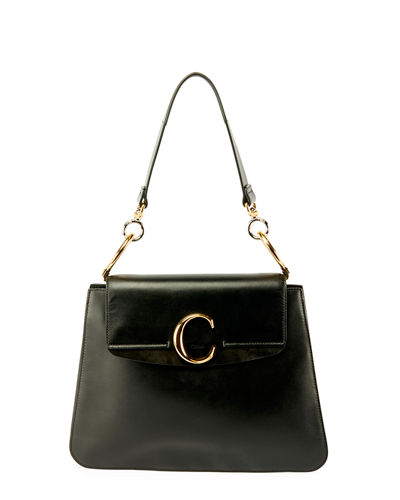 C Medium Shiny Leather Shoulder Bag