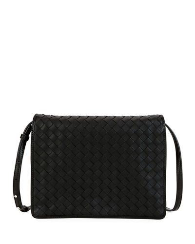 b270596eaa47 Intrecciato Leather Flap Shoulder Bag Quick Look. BLACK  WHITE. Bottega  Veneta