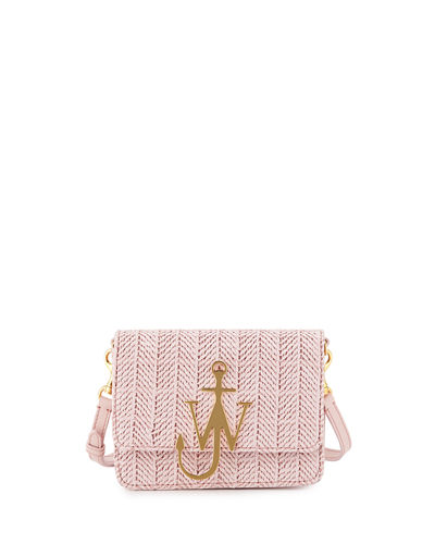 Mini Raffia Shoulder Bag with Anchor Logo