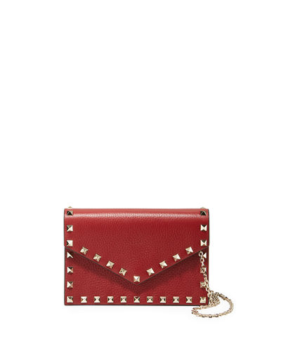 e7f076fe7b154 Valentino Garavani Rockstud Small Leather Flap Wallet on a Chain
