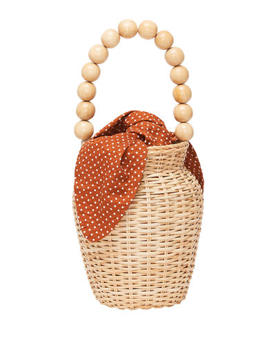 Woven Wicker Bucket Bag