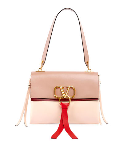 Vee Ring Medium Colorblock Leather Shoulder Bag