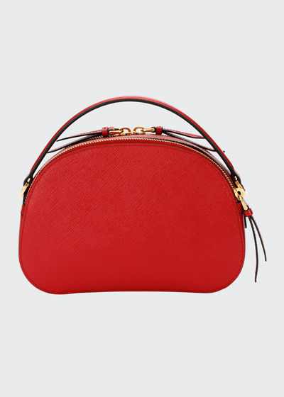 Lux Saffiano Rounded Satchel Bag