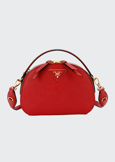 0176e872ac53 Lux Saffiano Rounded Satchel Bag Quick Look. RED  BLACK  WHITE. Prada