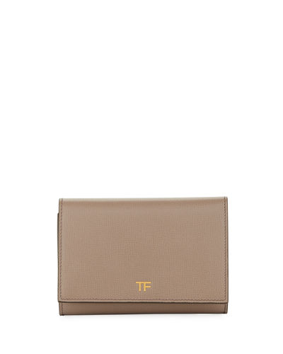 Saffiano Flap Line Wallet Quick Look Taupe Tom Ford