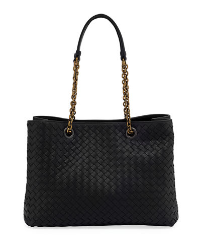 cd5c825256c2 Intrecciato Medium Double-Chain Tote Bag Quick Look. BLACK. Bottega Veneta
