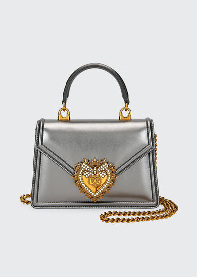 Devotion Mini Metallic Leather Top-Handle Bag