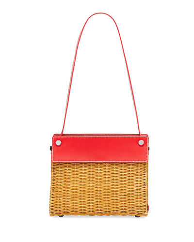 Wicker and Linen Shoulder Bag