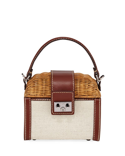Wicker and Linen Box Top Handle Bag