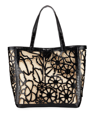 Floral Laser-Cut Tote Bag