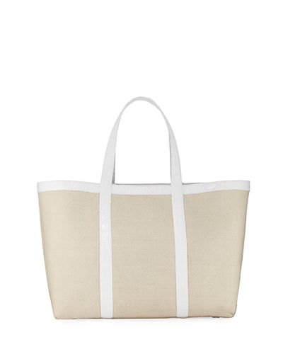 Carryall Crocodile & Linen XL Tote Bag