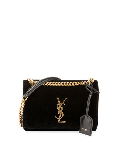 9c4074df685e Saint Laurent Sunset Monogram YSL Small Velvet Chain Crossbody Bag