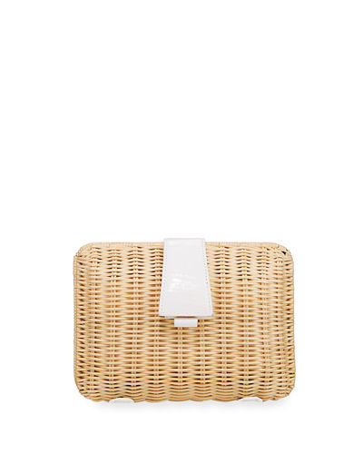 Wicker & Crocodile Small Clutch Bag