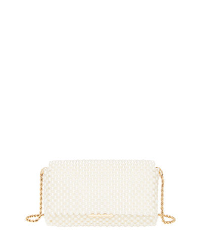 Pearl Metallic Bead Clutch Bag