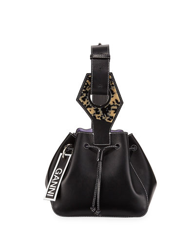 Leather Mini Cinch Bucket Bag