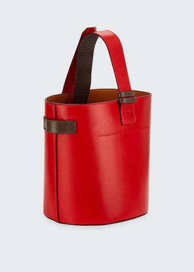 Leather Open Bucket Bag
