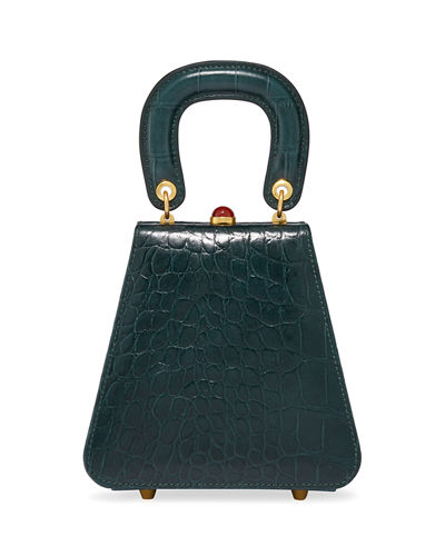 Kenny Croc-Embossed Calf Top Handle Bag