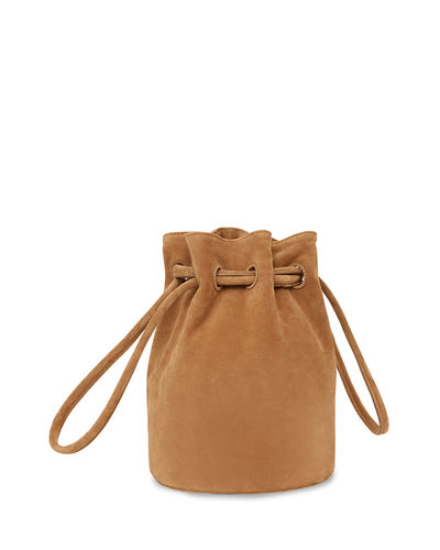Suede Drawstring Hobo Bucket Bag