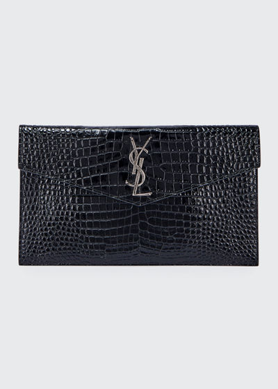 Uptown Crocodile-Embossed Clutch Bag