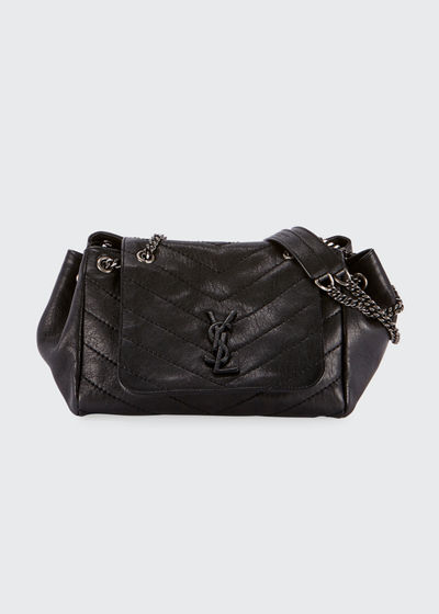 Nolita Medium Vintage Lambskin Leather Flap-Top Shoulder Bag, Black Hardware