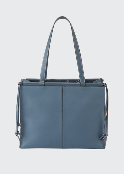 Cushion Soft Grained Calf Leather Tote Bag