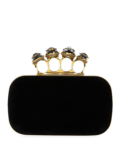 Jeweled Four-Ring Velvet Clutch Bag