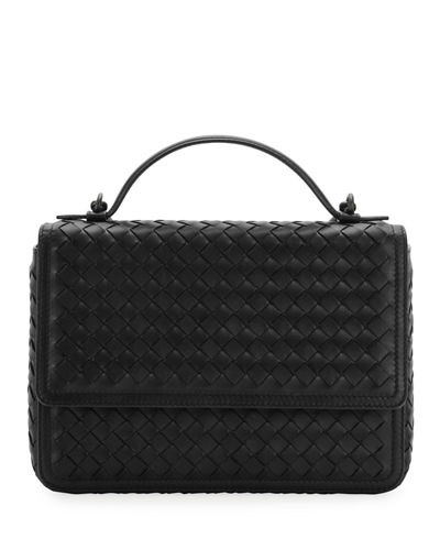 Woven Leather Flap Top Handle Bag
