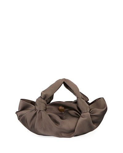 Ascot Two-Knot Satin Top Handle Bag