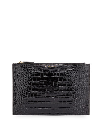 Antigona Croc-Embossed Medium Pouch Bag