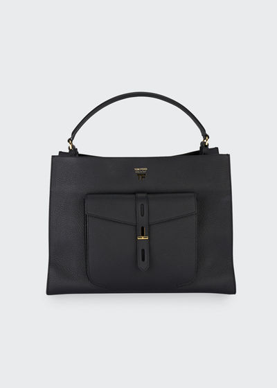 T Twist Small Leather Top-Handle Bag