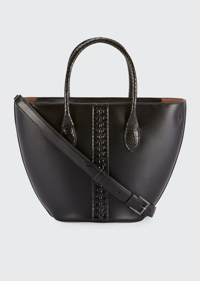 Latifa Mini Cuir Lux Tote Bag, Noir