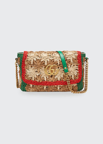 GG Marmont 2.0 Small Raffia Shoulder Bag