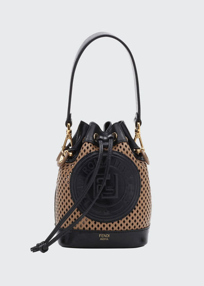 Mon Tresor Perforated Leather Bucket Bag