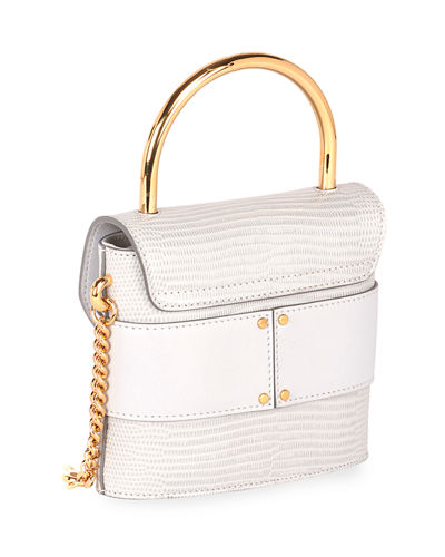 Aby Lock Lizard-Embossed Shoulder Bag