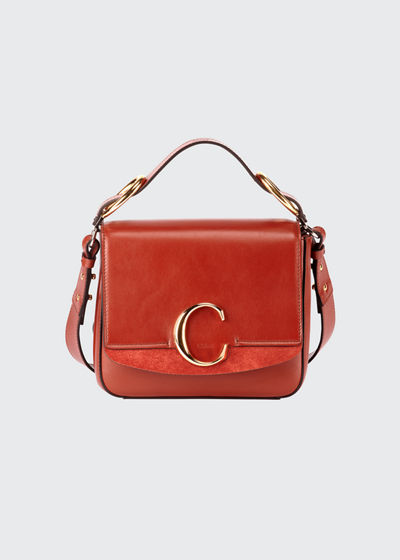 C Medium Shiny Box Shoulder Bag
