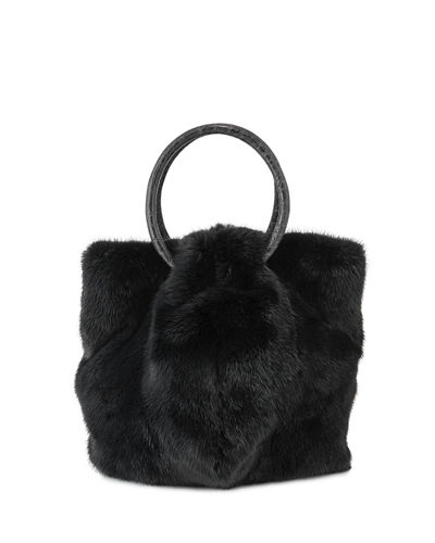 Gia Mink Fur and Python Bucket Bag