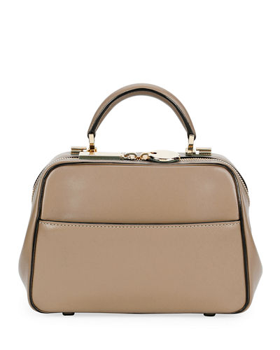 Small Glossy Calf Top-Handle Bag