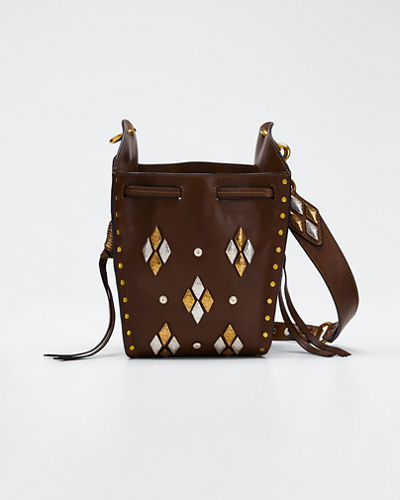 Radja Studded Leather Bucket Bag