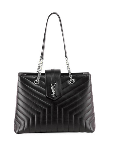 Loulou Monogram YSL Large Quilted Shoulder Tote Bag - Nickel Oxide Hardware