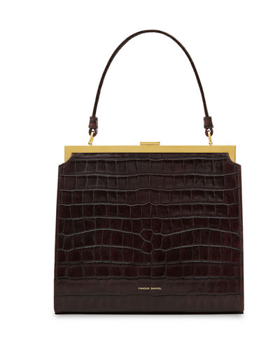 Elegant Crocodile-Embossed Top Handle Bag