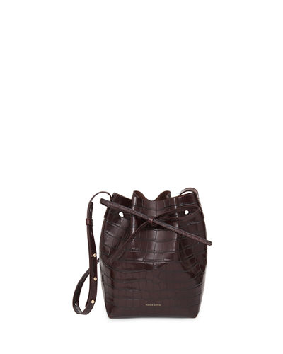 Mini Crocodile-Embossed Bucket Bag