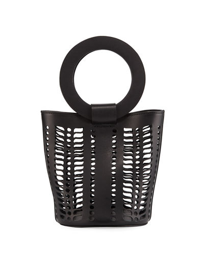 Mini Leather Cutout Bucket Bag