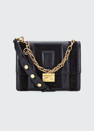Kan U Embossed Shine and Suede Shoulder Bag