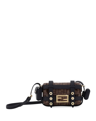 Fabric FF Mini Baguette Crossbody Bag with Cage