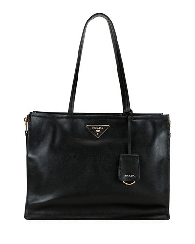 f39984eeb Glace Calf Leather Tote Bag Quick Look. BLACK; GRAY. Prada