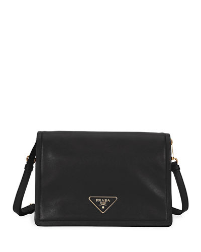 Glace Calf Soft Messenger Crossbody Bag